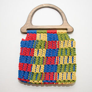 Vintage Colorful Macrame Crochet Handbag